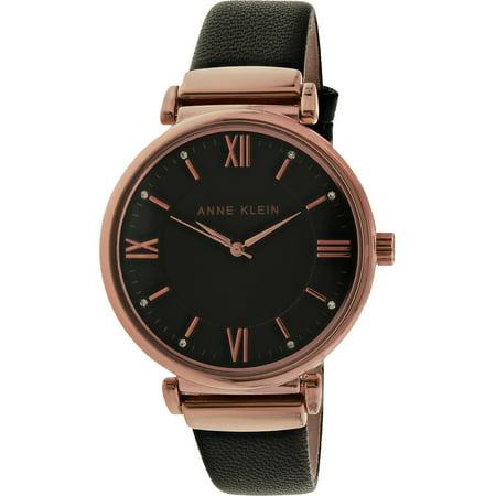 Women's AK-2666RGBK Rose-Gold Leather Quartz Fashion Watch Ak Anne Klein Gold Tone Diamond Watch