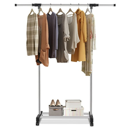 Gymax Portable Rolling Garment Rack Closet Organizer Shelf Clothes Hanger Adjule