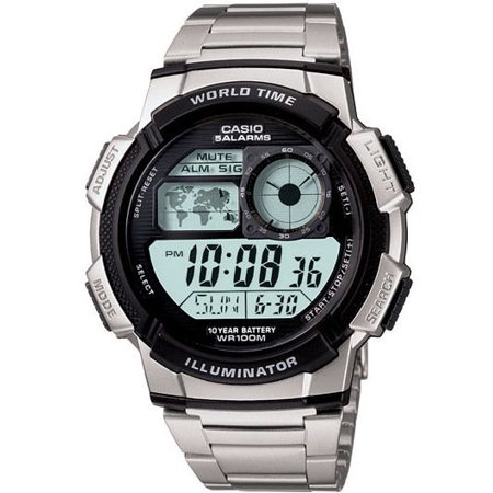 Casio AE1000WD-1A Men's 5 Alarms Chronograph Alarm World Time Zone Watch