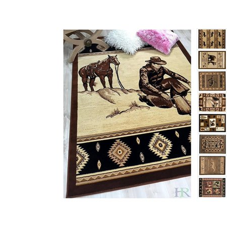 Handcraft Rugs Cabin Rug – Lodge, Cabin Nature and Animals Area Rug – Modern Southwestern Design Cabin Area Rug – Abstract, Chocolate Brown/Beige–Cowboy/Horse (5x7 feet) ()
