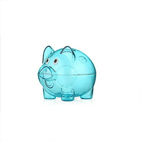 Transparent Plastic Piggy Bank Money Saving Box Coin Bank Case Cartoon Pig Shaped Miniature Large (Plastic Piggy Bank)