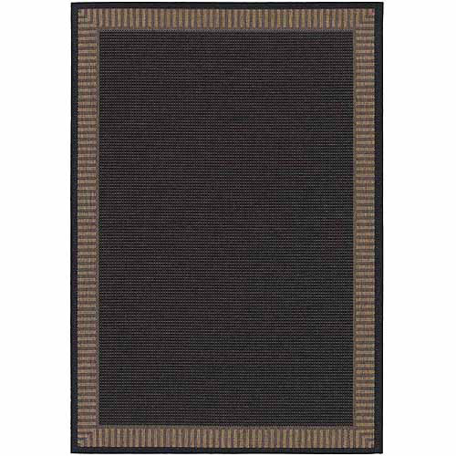 Couristan Recife Wicker Stitch Rug, Black/Cocoa
