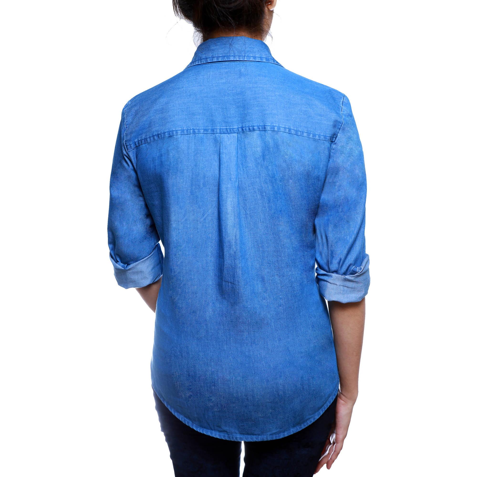 4d9917237bf Faded Glory - Women s Button Front Denim Shirt - Walmart.com