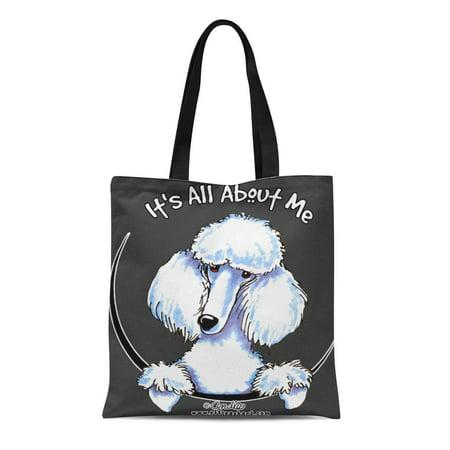 LADDKE Canvas Tote Bag Miniature White Standard Poodle Funny Cute Lover Love Poodles Reusable Handbag Shoulder Grocery Shopping Bags](Poodle Purses)