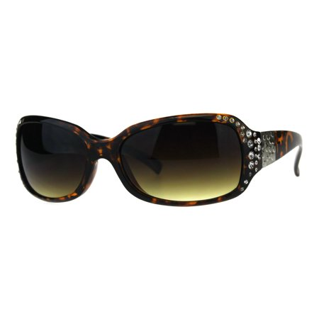 Womens Luxury Iced Out Rhinestone Rectangular Plastic Butterfly Sunglasses Tortoise Brown
