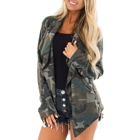 (Toponeto) Women's Long Sleeve Loose Camouflage Print With Pockets Coat Cardigan Tops Coat thumbnail