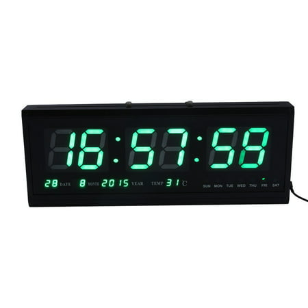Led Digital Alarm Clock 12 24 Hour With Date Temperature Humidity Display Snooze Desk Wall