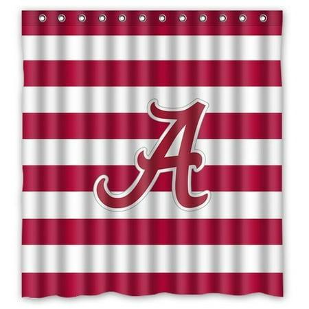 Ganma Unique Alabama Crimson Tide Symbol Shower Curtain Polyester Fabric Bathroom 66x72 Inches Image