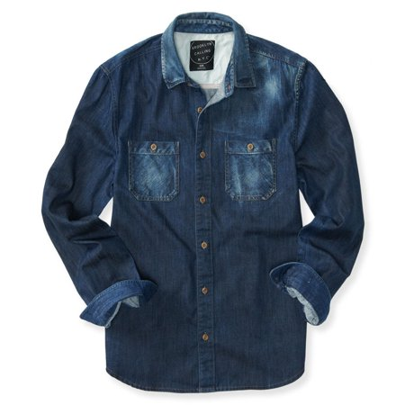 Aeropostale mens faded denim button up shirt for Jean button up shirt mens