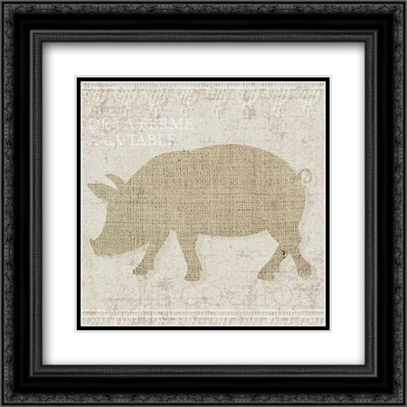 Burlap Farm Animals 3 2x Matted 20x20 Black Ornate Framed Art Print by Hogan, Melody