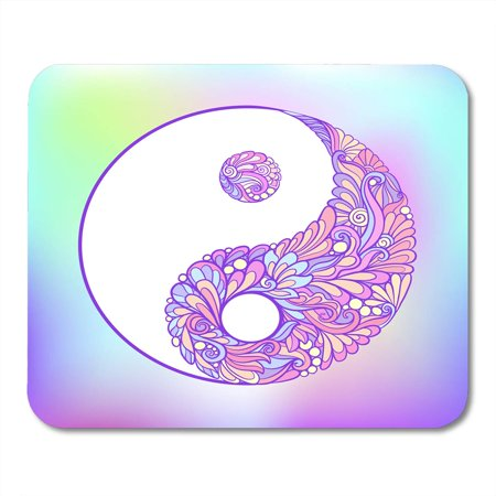 LADDKE Abstract Symbol of Yin and Yang This Tattoo Badges Patch Stock Line Mandala Ying Mousepad Mouse Pad Mouse Mat 9x10