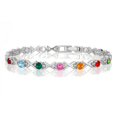 Personalized Women S Xoxo Family Birthstone Bracelet 8 25in