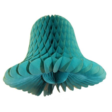 3-pack 9 Inch Hanging Honeycomb Tissue Paper Bell Decoration, Teal Green, by Devra Party (Greek Party Decorations)