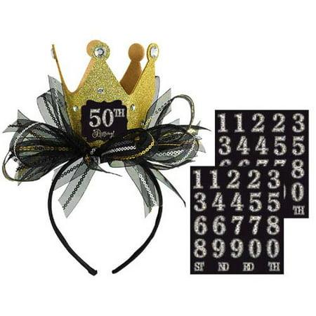 Happy Birthday 'Sparkling Celebration' Deluxe Customizable Tiara Headband (1ct)