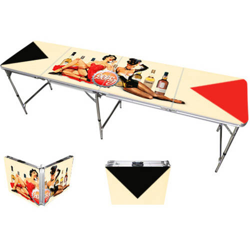 Pin Up Girls Beer Pong Table 8', Premium HD Design, Bottle Opener, Ball Rack, and 6 Pong Balls!
