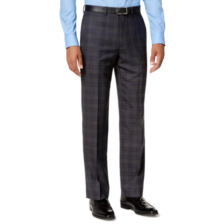Ryan Seacrest Gray Men 32x34 Dress Plaid Modern Wool Stretch Pants (Mens Comfort Stretch Wool Dress)