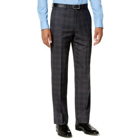 Gray Men 32x34 Dress Plaid Modern Wool Stretch Pants $175