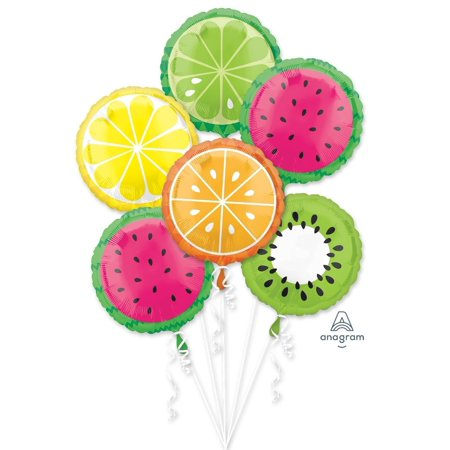 All Fruits Fruity Summer  Happy Birthday Party Favor 6CT Foil Balloon Bouquet](Happy Birthday Transformers)