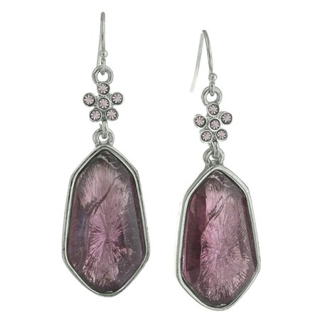 Silver Tone Light Amethyst-Color Crystal and Purple Faceted Drop (Purple Amethyst Crystal)