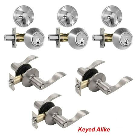 Dynasty Hardware V-CP-HER-US15, Heritage Front Door Entry Lever Lockset and Single Cylinder Deadbolt Combination Set, Satin Nickel - (3 PACK) - Keyed Alike