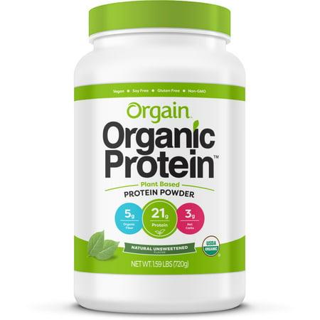Orgain Organic Vegan Protein Powder, Unsweetened, 21g Protein, 1.6