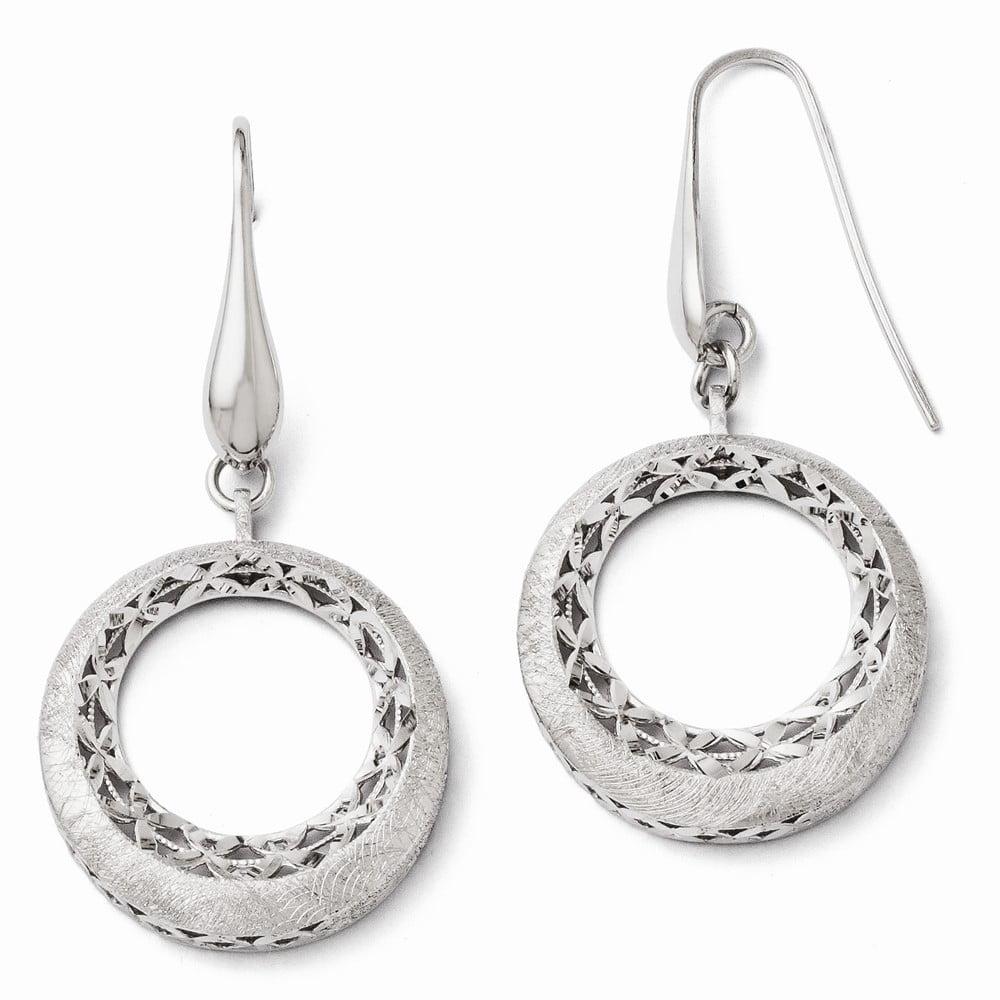 Sterling Silver D/C Laser Etched Shepard Hook Earrings (1.7IN x 0.9IN )