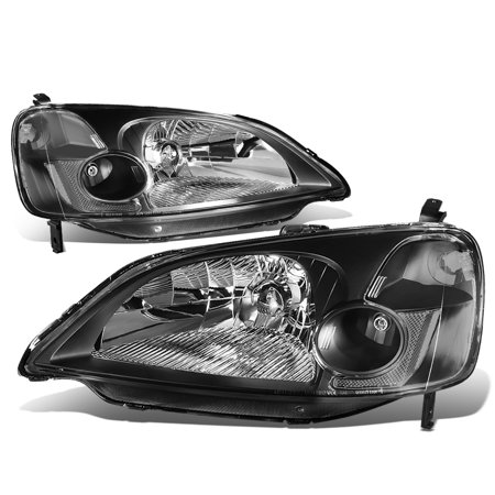 For 2001 to 2003 Honda Civic OE Style Headlight Black Housing Clear Corner Headlamp EM ES 02 Left + Right Civic Projector Headlights Black Housing