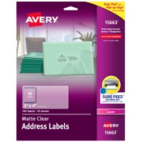 "Avery Clear Shipping Labels, Sure Feed, 2"" x 4"", 100 Labels (15663)"