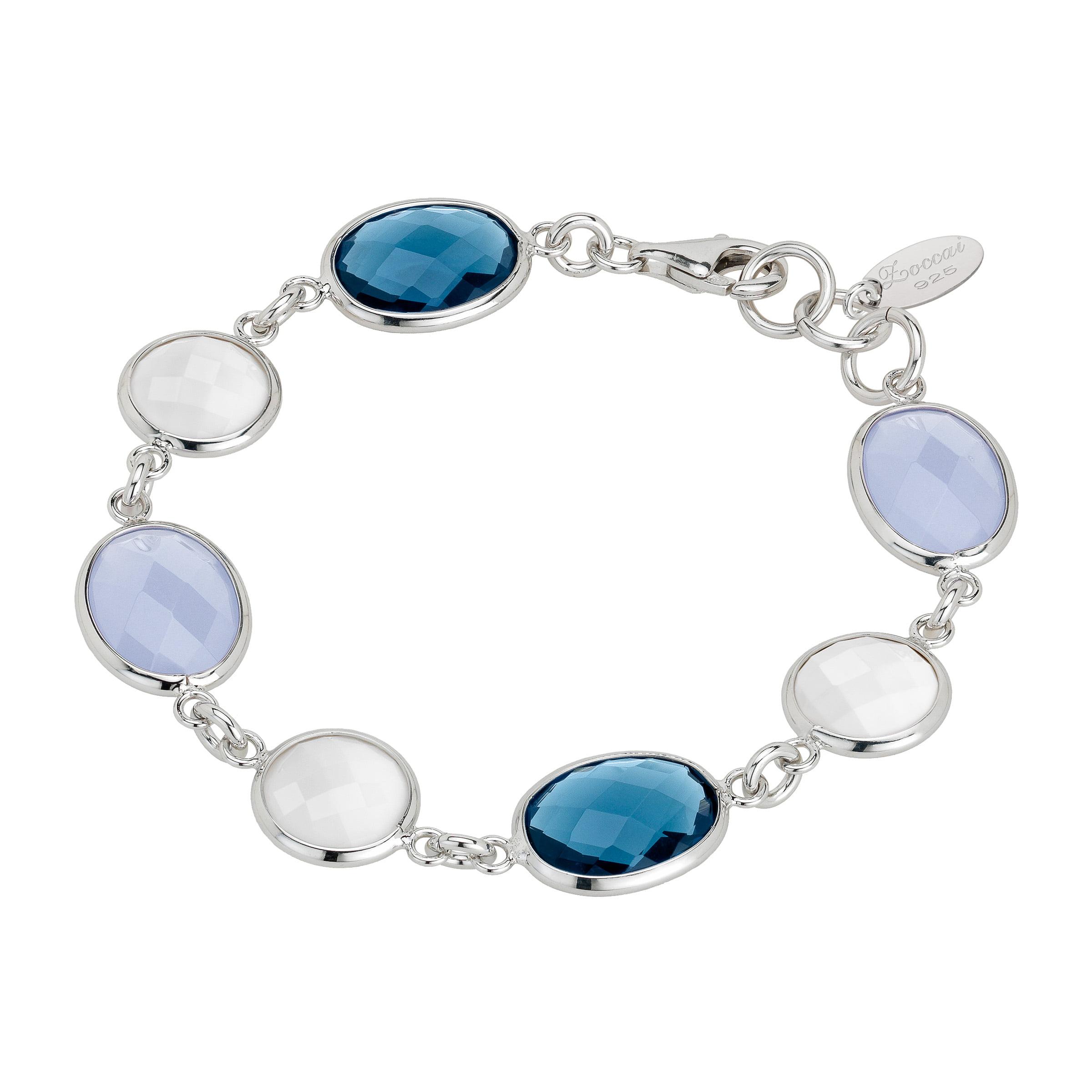 Zoccai 925 Agate, Topaz & Chalcedony Link Bracelet in Sterling Silver by Richline Group