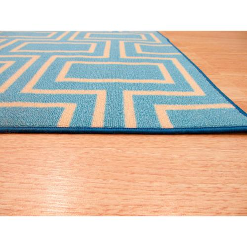 EORC Blue Contemporary Geometric Brandon Rug (7'10 x 9'10) - 7'10 x 9'10