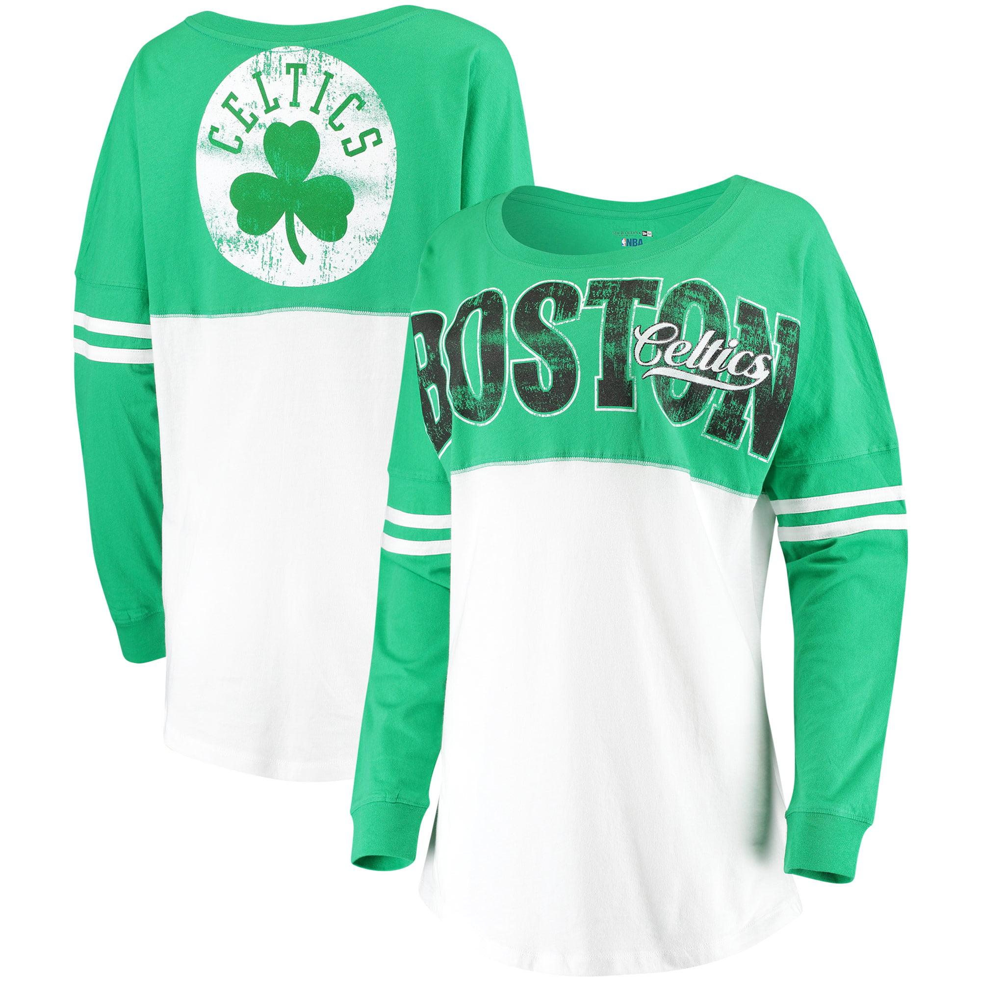 Boston Celtics New Era Women's Baby Jersey Stripe Spirit Long Sleeve T-Shirt - White/Kelly Green