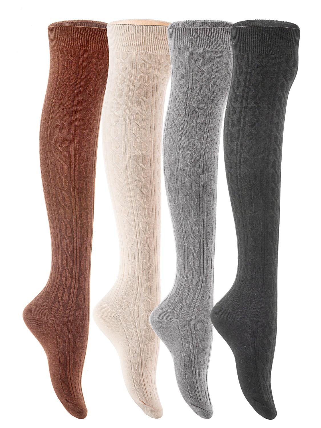 Lian LifeStyle Big Girls' 4 Pairs Over Knee High Cotton Boot Socks JMYP1024 Size L/XL(Black,Coffee,Dark Grey, Beige)