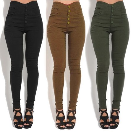 - Womens Pencil Pants Button High Waist Pants Skinny Elastic Stretchy Slim Trousers female Casual Leggings Sweatpants Plus Size S-3XL