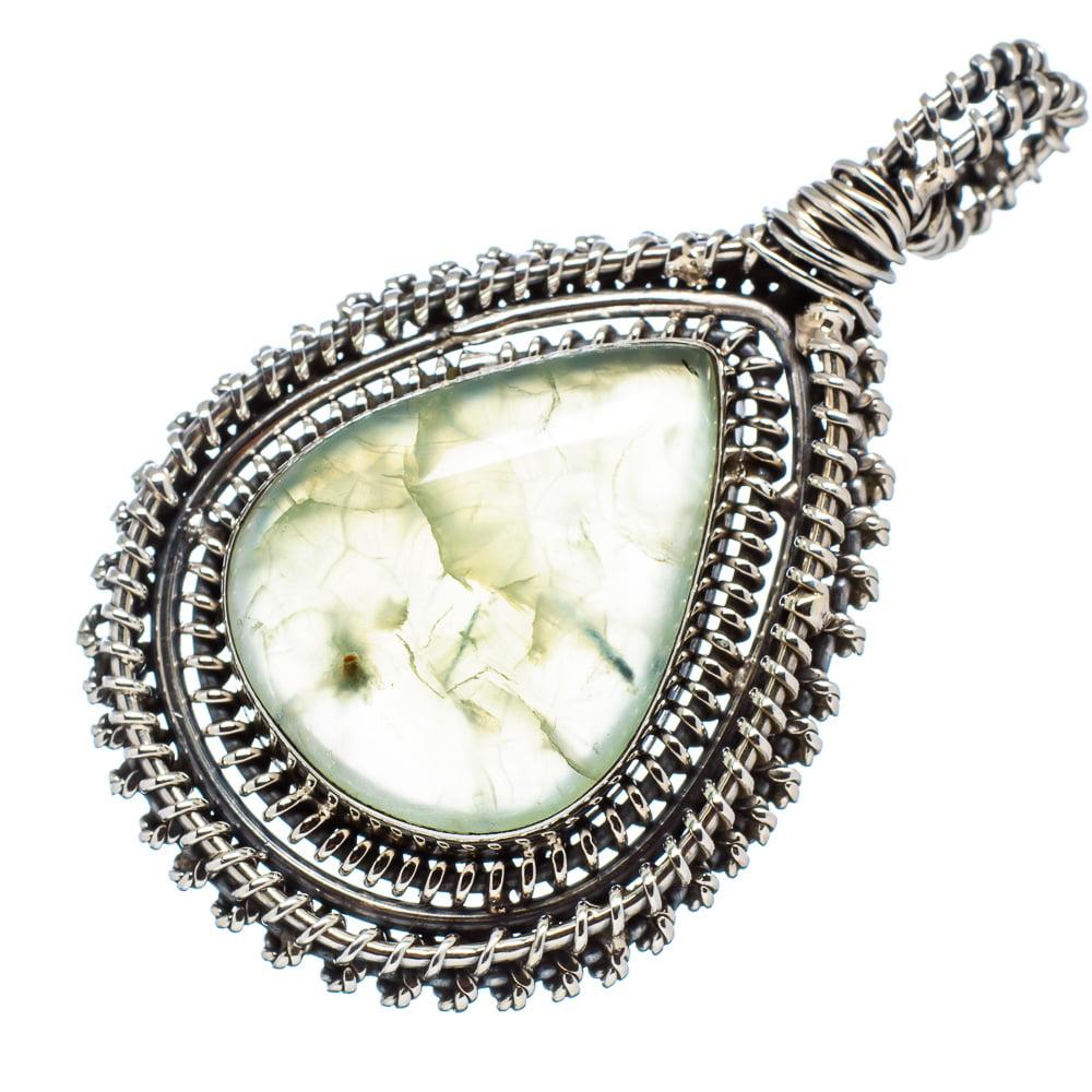 """Ana Silver Co Prehnite 925 Sterling Silver Pendant 2"""" PD552555"""