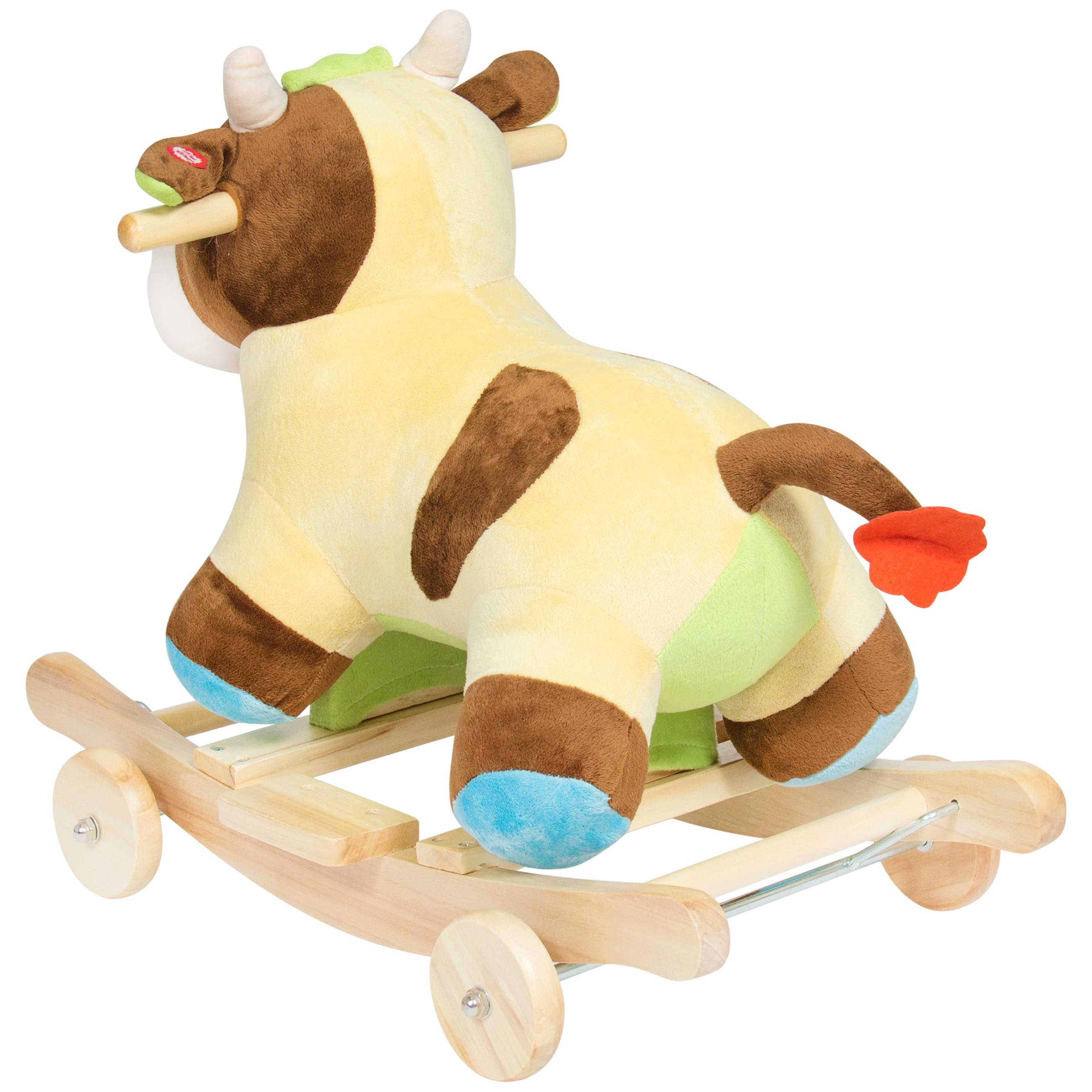Best Choice Products Kids Ride Plush Cow Animal Rocker w