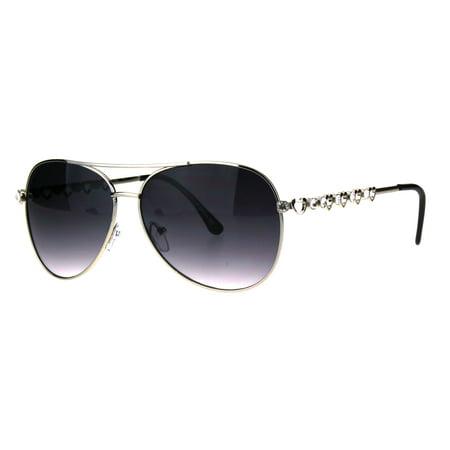 Womens Rhinestone Bling Heart Jewel Diva Metal Rim Aviator Sunglasses Silver Smoke