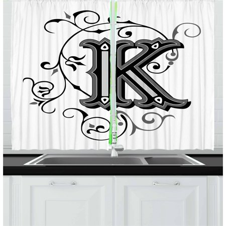Letter K Curtains 2 Panels Set, Uppercase K with a Design from Medieval Times Letter Sign Alphabet Pattern, Window Drapes for Living Room Bedroom, 55W X 39L Inches, Black Grey White, by Ambesonne - Medieval 2 Letter