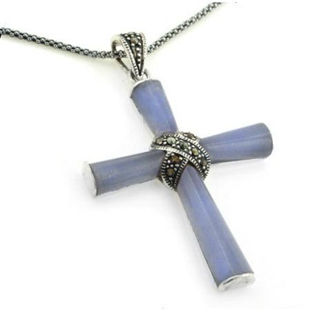 - Sterling Silver Marcasite Purple Jade Cross Pendant w/ 20