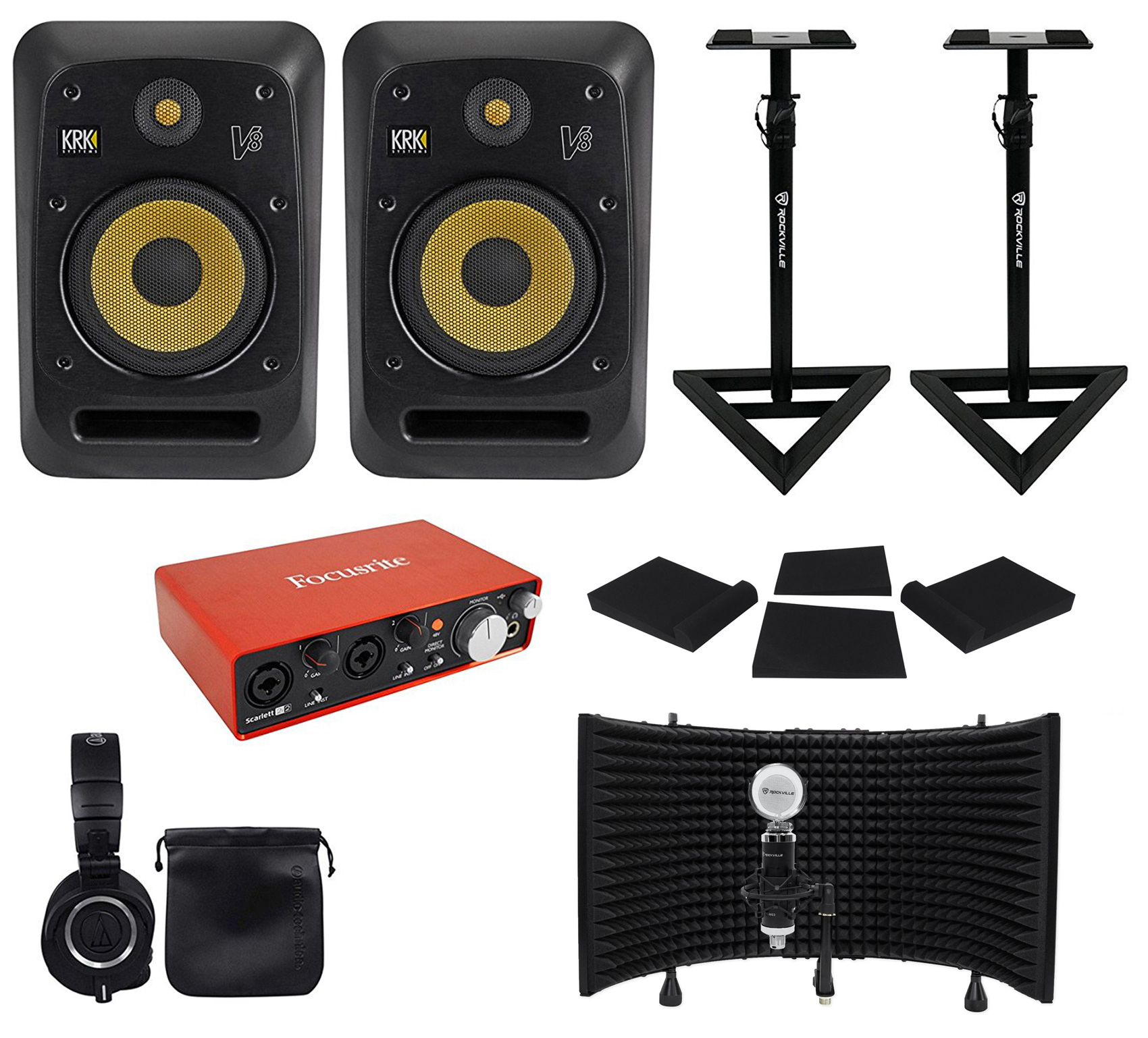 "(2) KRK V8S4-NA 8"" Active Studio Monitors+Stands+Interface+Mic+Headphones+Shiled by KRK"