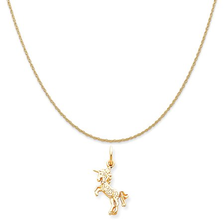 10k Yellow Gold Baby Unicorn Charm on a 14K Yellow Gold Rope Chain Necklace, 16