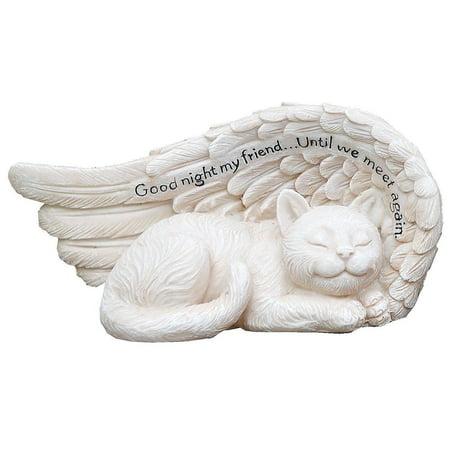 Small Sleeping Cat in Angel's Wing Memorial Garden Statue