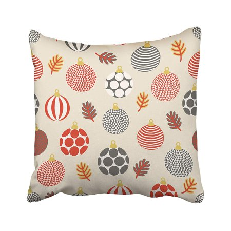 - ARHOME Red Christmas with Balls Beige Holiday Vintage Leaf Continuous Cute Merry White Pillow Case Pillow Cover 18x18 inch Throw Pillow Covers