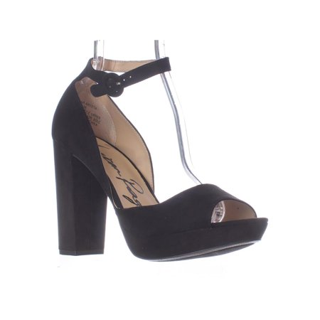 (Womens AR35 Reeta Platform Peep Toe Ankle Strap Heels, Black)