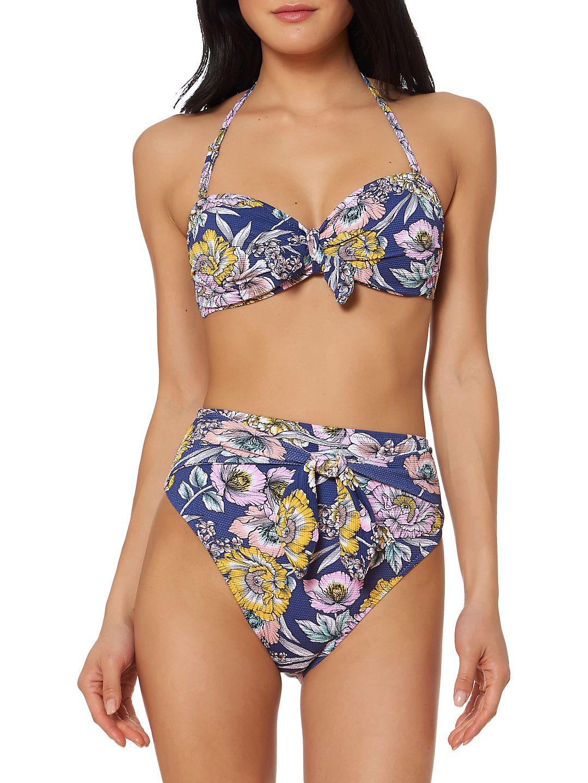 Floral Tie-Front Bikini Top