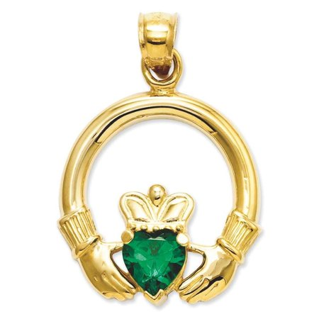 Green Gold Claddagh Charm (14k Yellow Gold Claddagh with Green CZ Stone Charm Pendant)