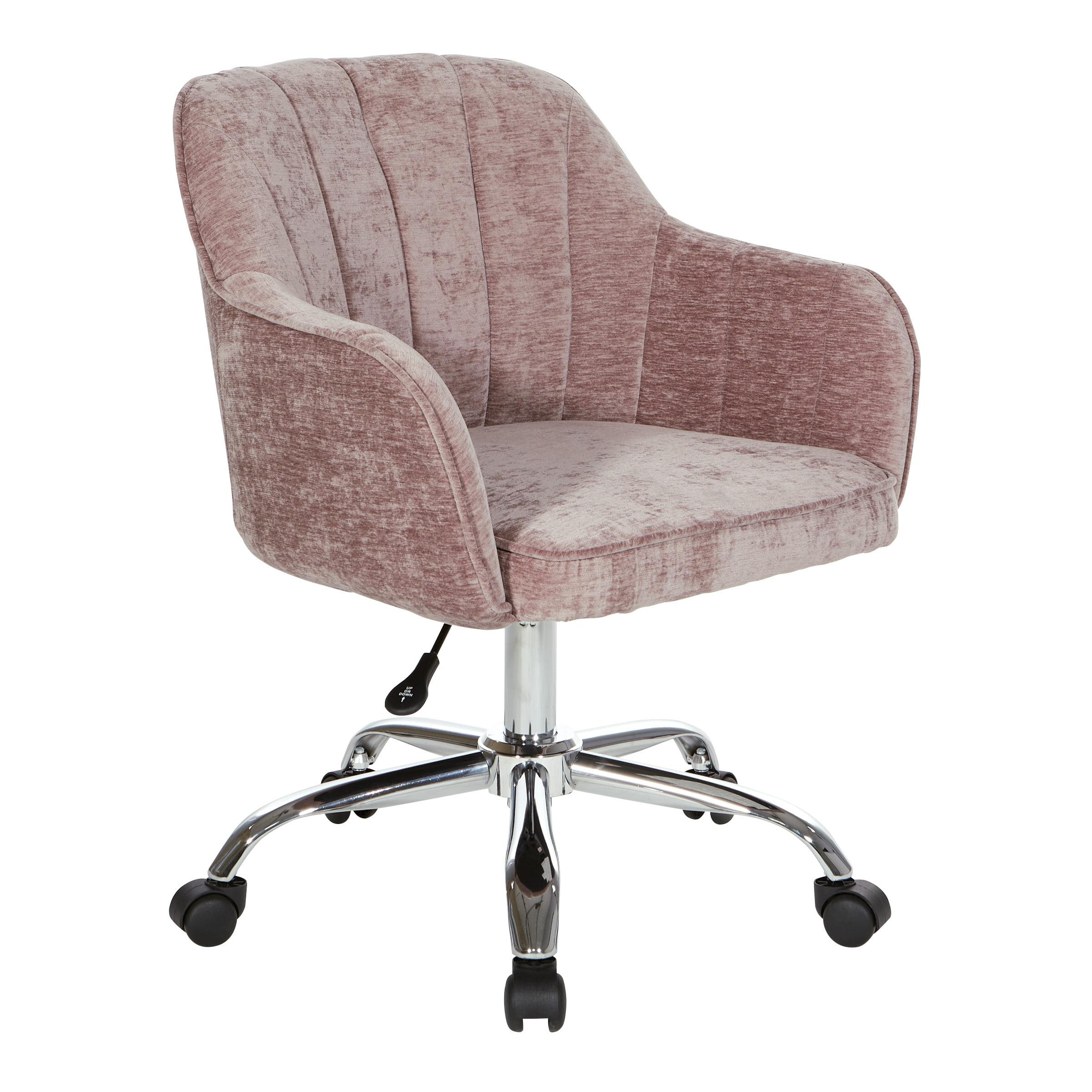 Osp Home Furnishings Versailles Office Chair In Rose Velvet Fabric With Chrome Base Walmart Com Walmart Com