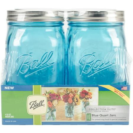 Colored Jars - Ball (R) Wide Mouth Canning Jars 4/pkg-Quart - Elite Color Series Blue
