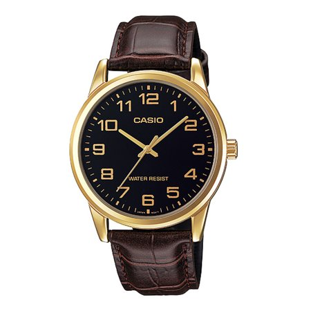 Casio MTP-V001GL-1B Men's Gold Tone Leather Band Easy Reader Black Dial Watch