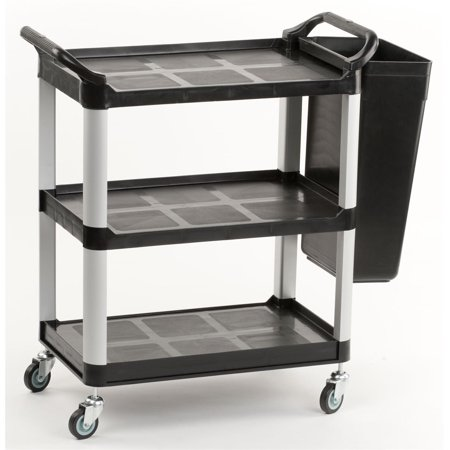 Box Utility Cart - Utility Cart with Rubbish Bin Attachment, 2 Side Handles and Swivel Wheels, Aluminum & Plastic (Black) - Small (UC3SSM1BN7)
