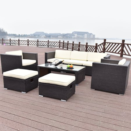 Costway 8 PCS Outdoor Patio Rattan Wicker Furniture Set Sofa Cushioned Garden with White Cushions ()